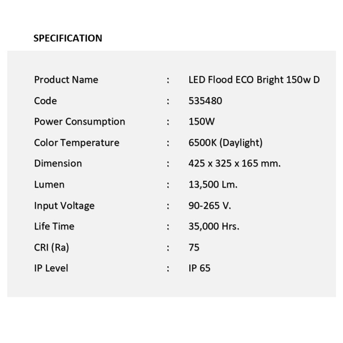 สปอร์ตไลท์ led eco bright 150w เดย์ไลท์ eve