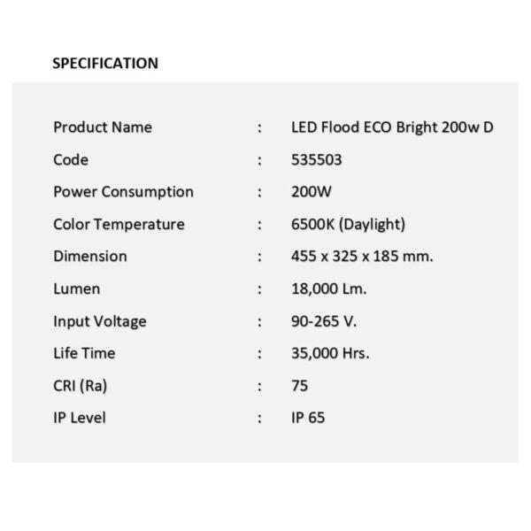 สปอร์ตไลท์ LED ECO Bright 200w (เดย์ไลท์) EVE
