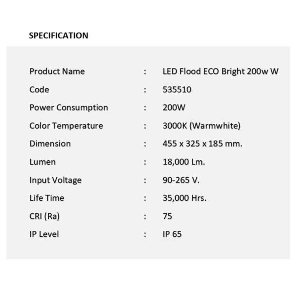 สปอร์ตไลท์ LED ECO Bright 200w (วอร์มไวท์) EVE