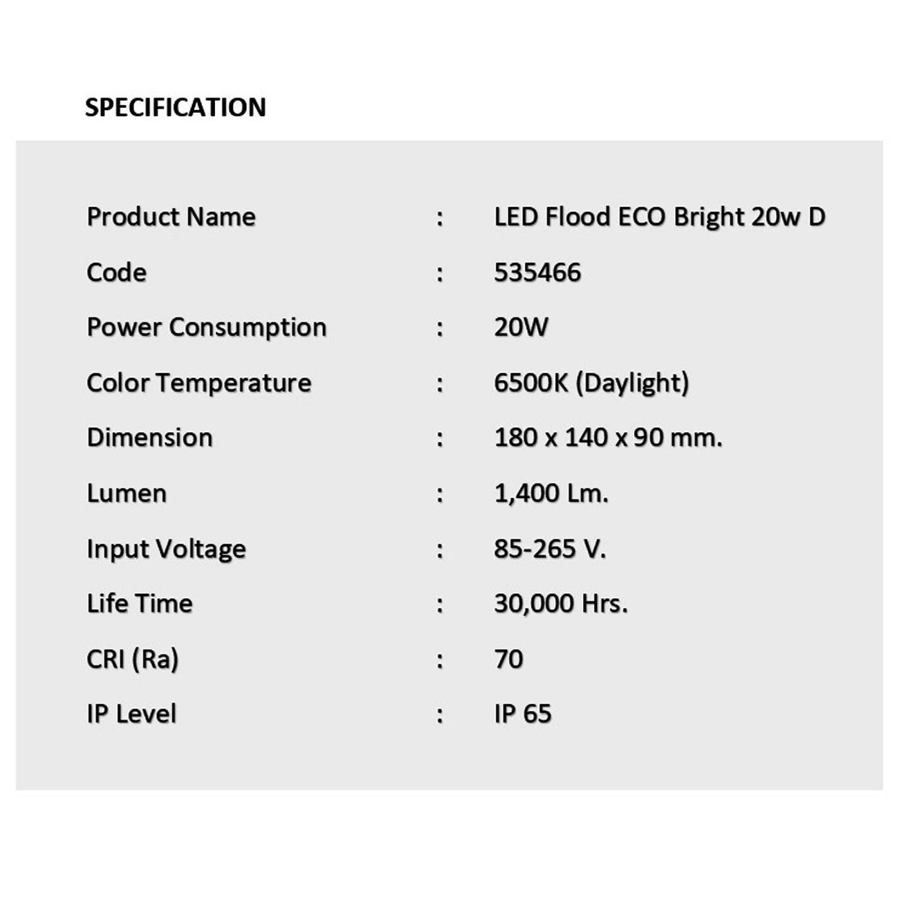 สปอร์ตไลท์ led eco bright 20w เดย์ไลท์ eve