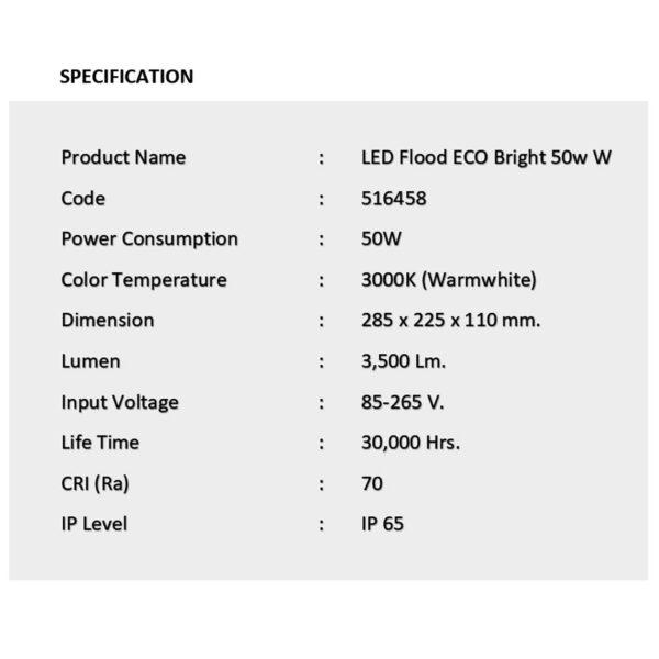 สปอร์ตไลท์ LED ECO Bright 50w (วอร์มไวท์) EVE