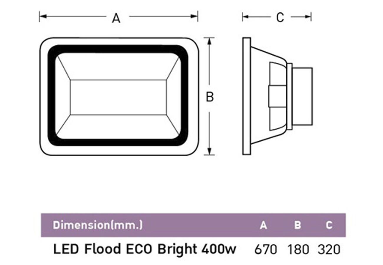 สปอร์ตไลท์ led eco bright 400w วอร์มไวท์ eve
