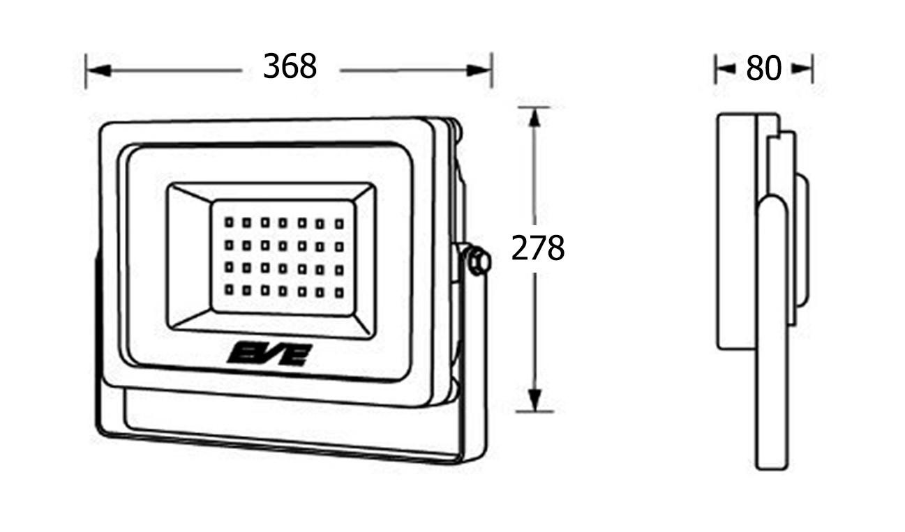 สปอร์ตไลท์ LED Slender 150w (วอร์มไวท์) EVE