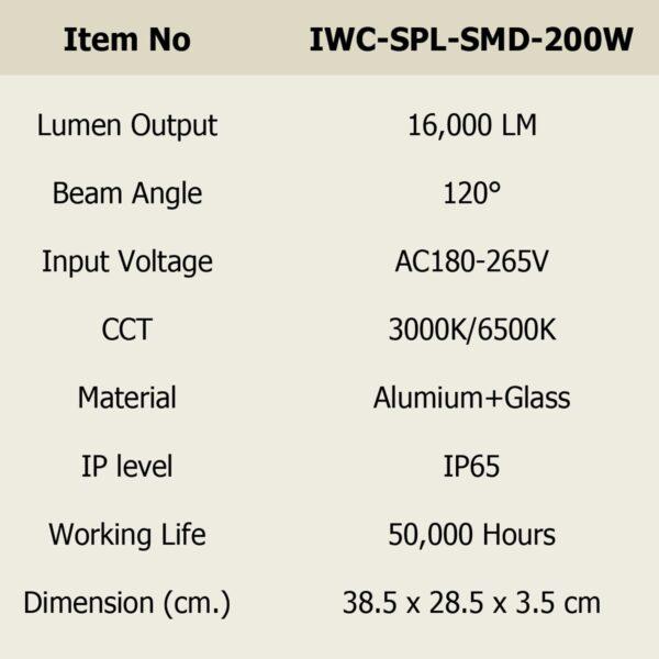 สปอร์ตไลท์ LED 200w SMD รุ่นบาง (วอร์มไวท์) IWACHI