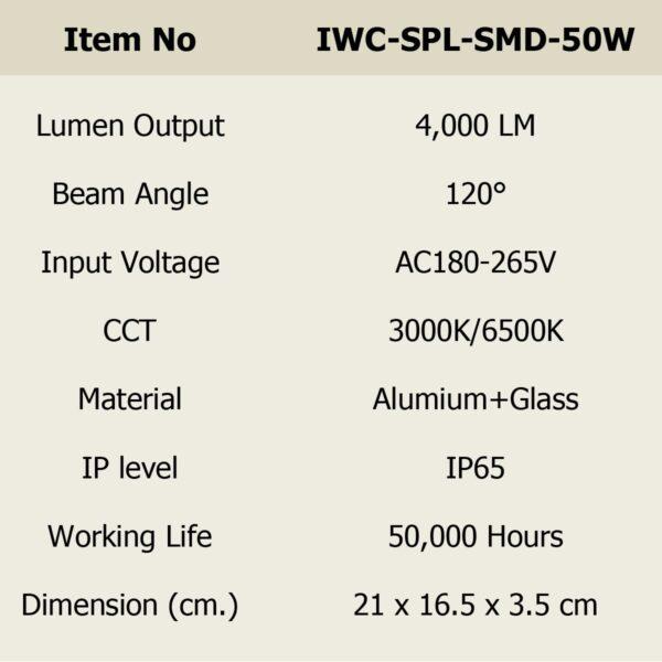 สปอร์ตไลท์ LED 50w SMD รุ่นบาง (วอร์มไวท์) IWACHI