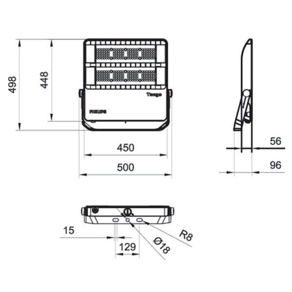 สปอร์ตไลท์ LED Philips BVP382 120w (WW)