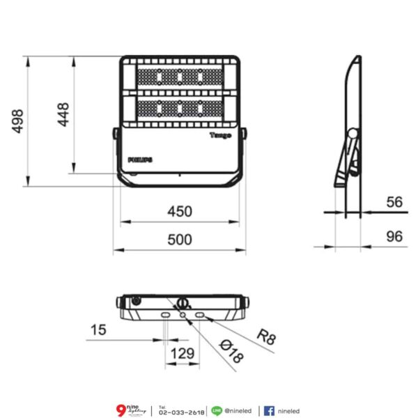 สปอร์ตไลท์ LED Philips BVP382 200w (NW)