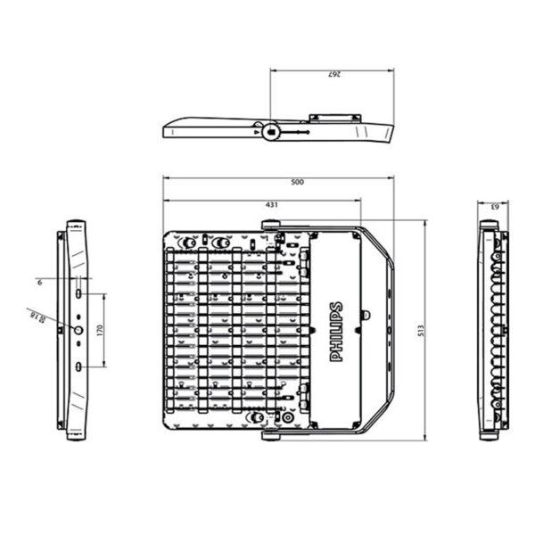 สปอร์ตไลท์ LED PHILIPS BVP163 220w (WW)